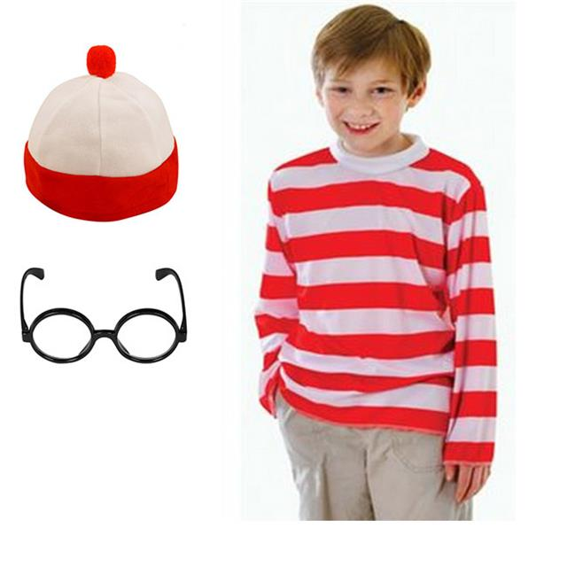 BOYS-WHERES-WALLY-RED-WHITE-FANCY-DRESS-COSTUME-KIDS-WORLD-BOOK-DAY-AGE-4-12