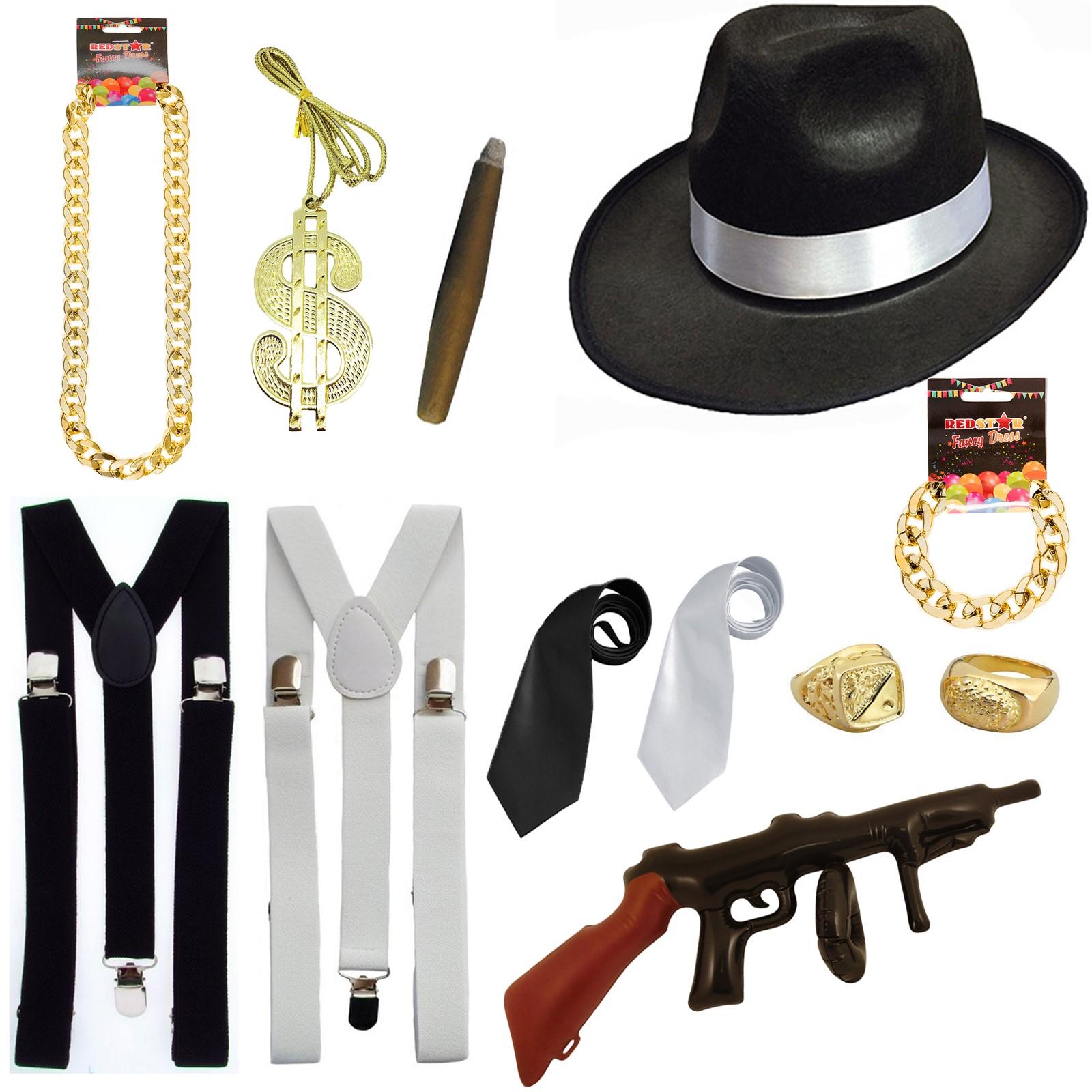 Mens Ladies Gangster 20/'s 1920/'s Pimp Capone Fancy Dress Costume Accessories