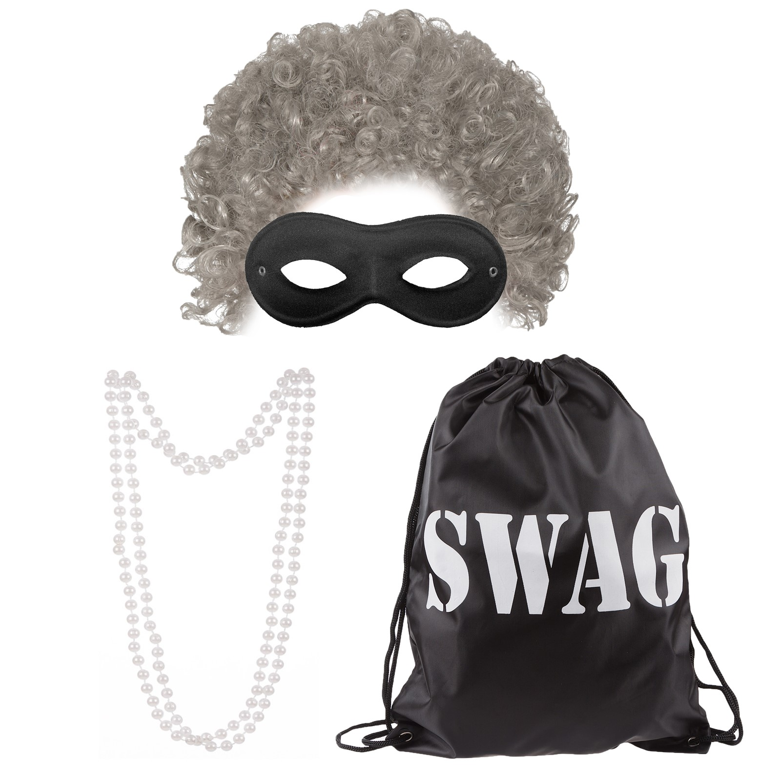 GRANNY AFRO MASK PEARLS SWAG BAG STICK OLD LADY WIG  WORLD BOOK DAY GANG THIEF