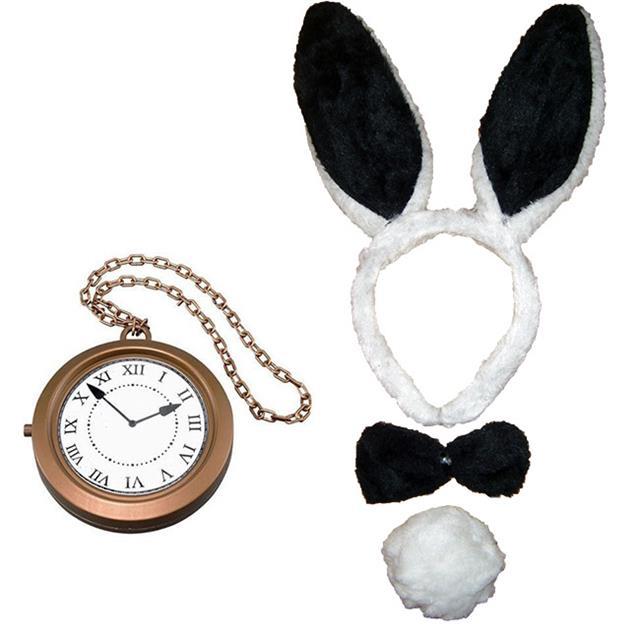 PINK-BLACK-BUNNY-RABBIT-EARS-BOW-TIE-TAIL-CLOCK-ALICE-IN-WONDERLAND-FANCY-DRESS