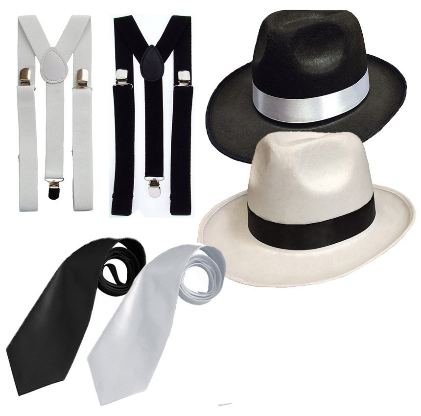 8acce4776b4657 Details about ADULT GANGSTER DELUXE TRILBY HAT BRACES TIE 1920'S GATSBY  BUGSY MALONE AL CAPONE