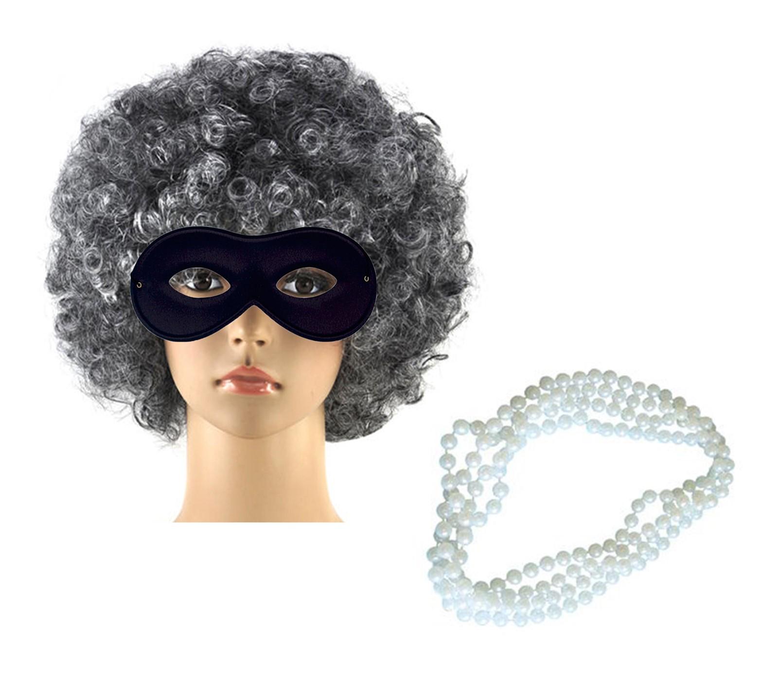 Womens Grey Wig Black Eye Mask Necklace Gangsta Granny Fancy Dress Accessory Set