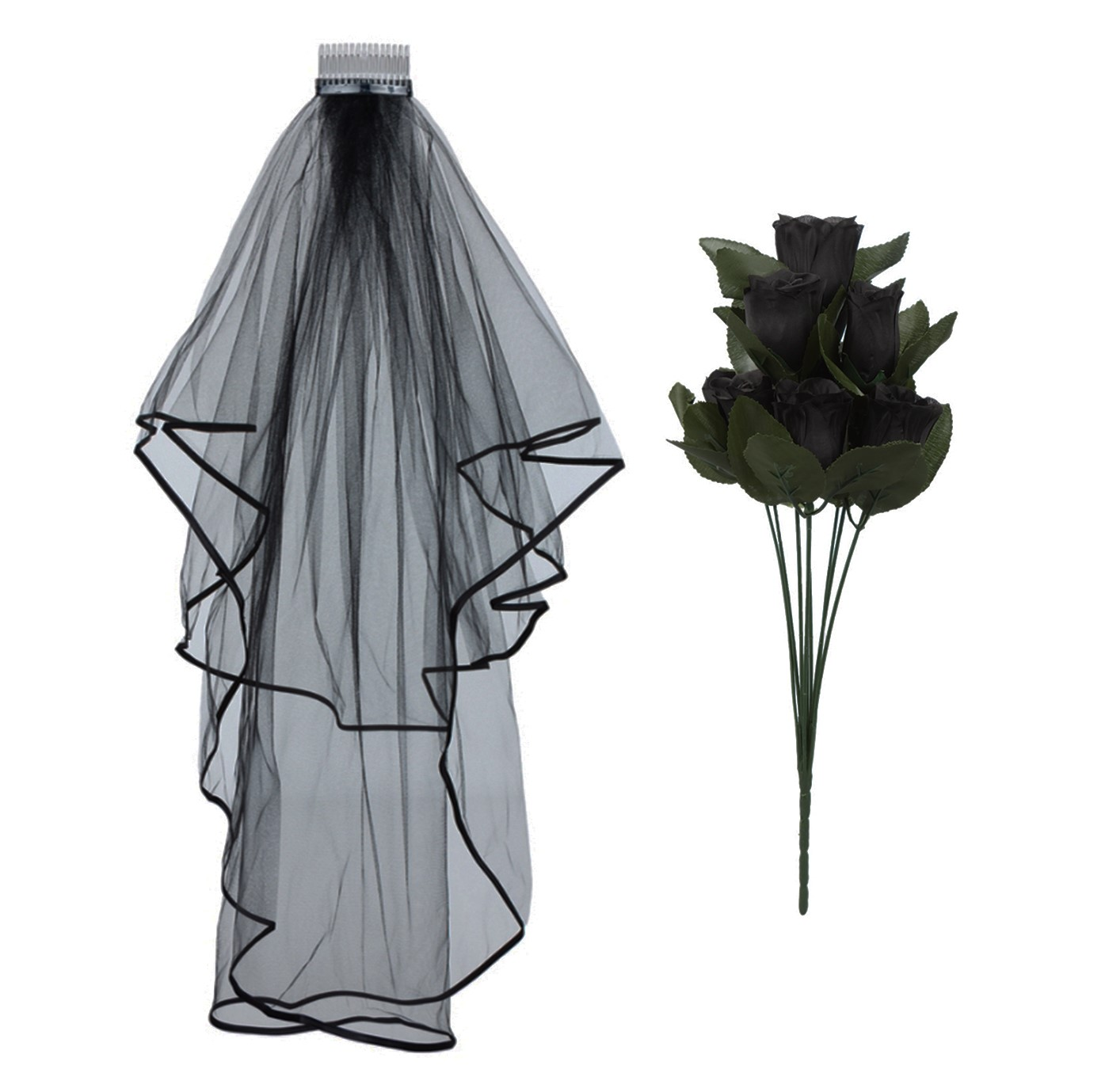 HALLOWEEN CORPSE BRIDE WEDDING VEIL ROSES FANCY DRESS DAY OF THE ...