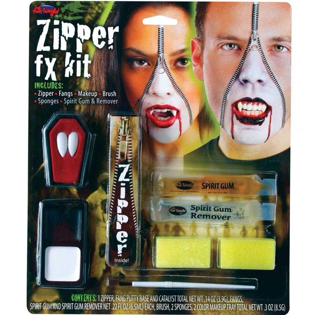 ZIPPER FX MAKE UP KIT FAKE ZIP ZOMBIE WOUND CUT GORE SCAR ...