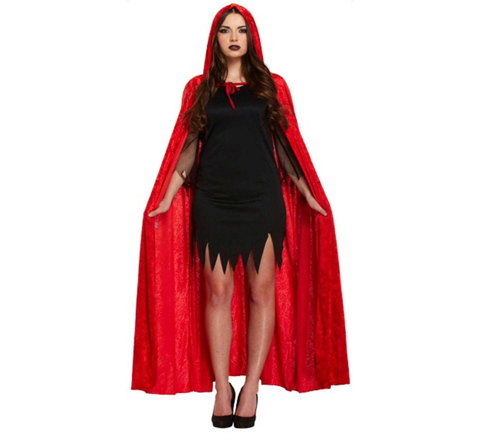 details about adult red cape cloak includes devil horns and trident halloween fancy dress.