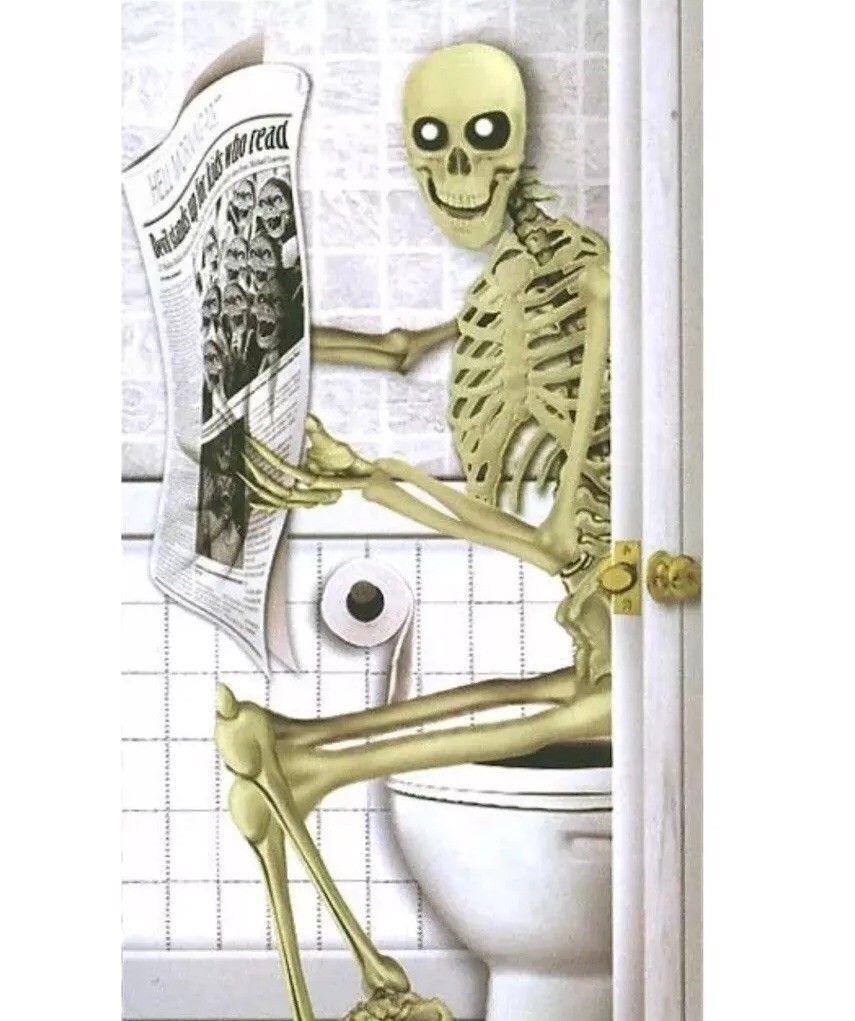 Skeleton On The Toilet Bog Halloween Door Poster Home