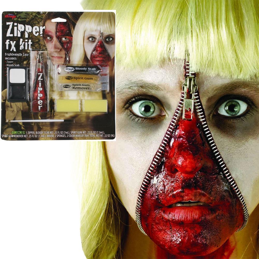 ZIPPER FX MAKE UP KIT FAKE ZIP ZOMBIE WOUND CUT GORE SCAR ...