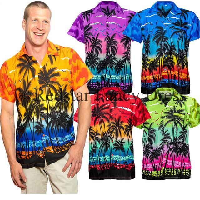 Mens Hawaiian Shirt Stag Palm Tree Aloha Holiday Beach