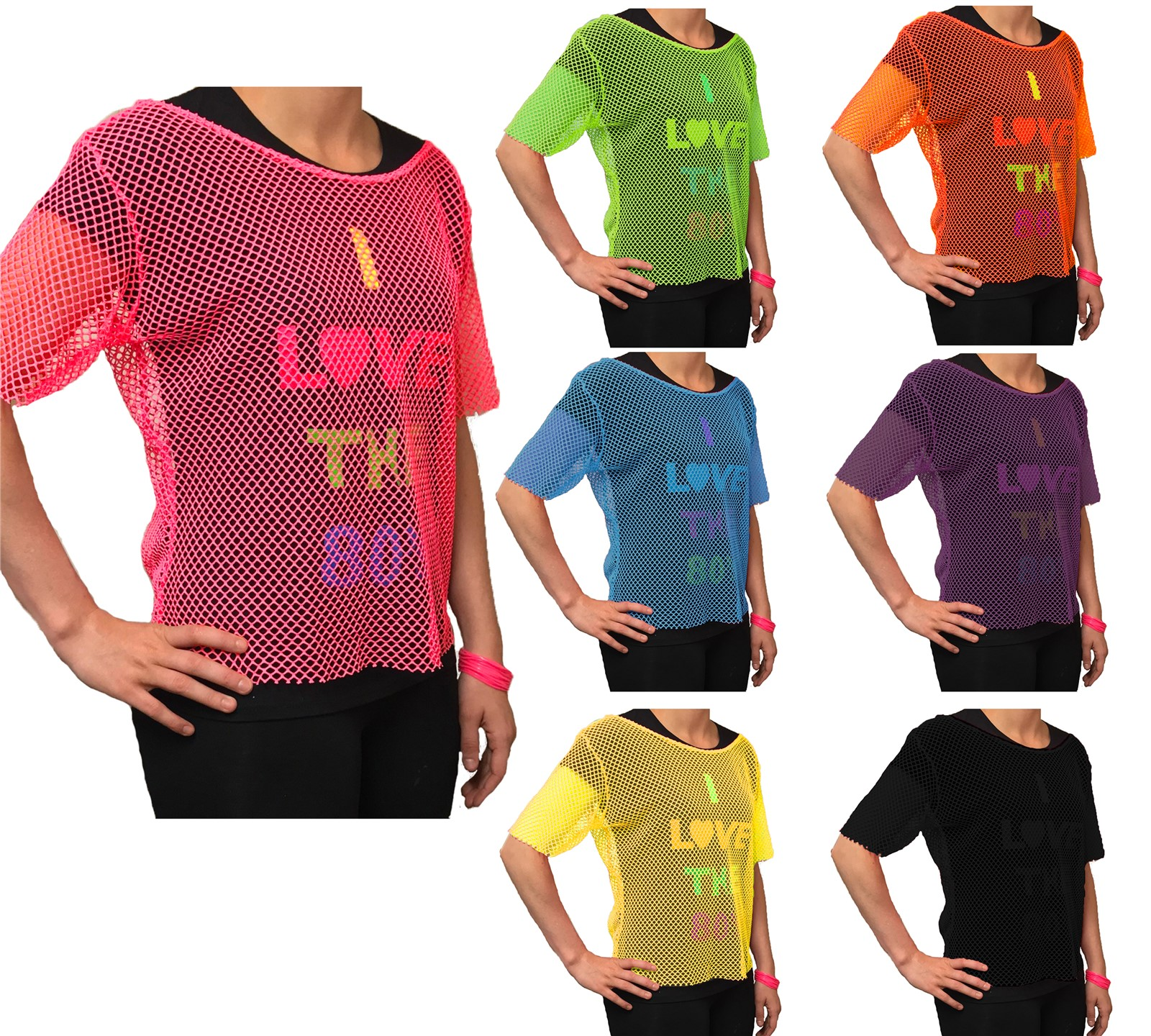 Neon Mesh Top femmes robe fantaisie 80 S Neon Mesh Top