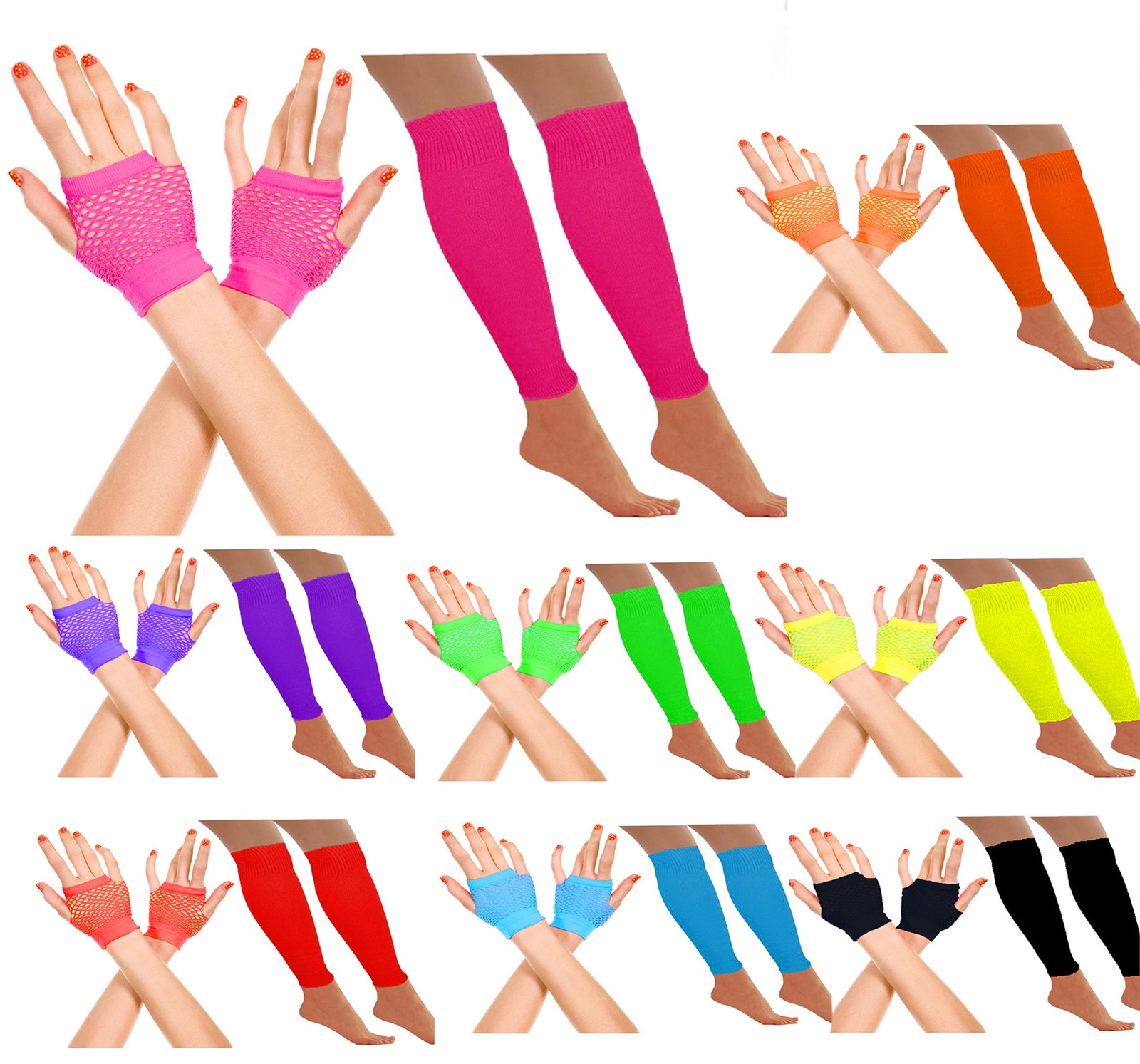 Neon Fishnet Gloves Ladies 1980s Fancy Dress Disco Accessory