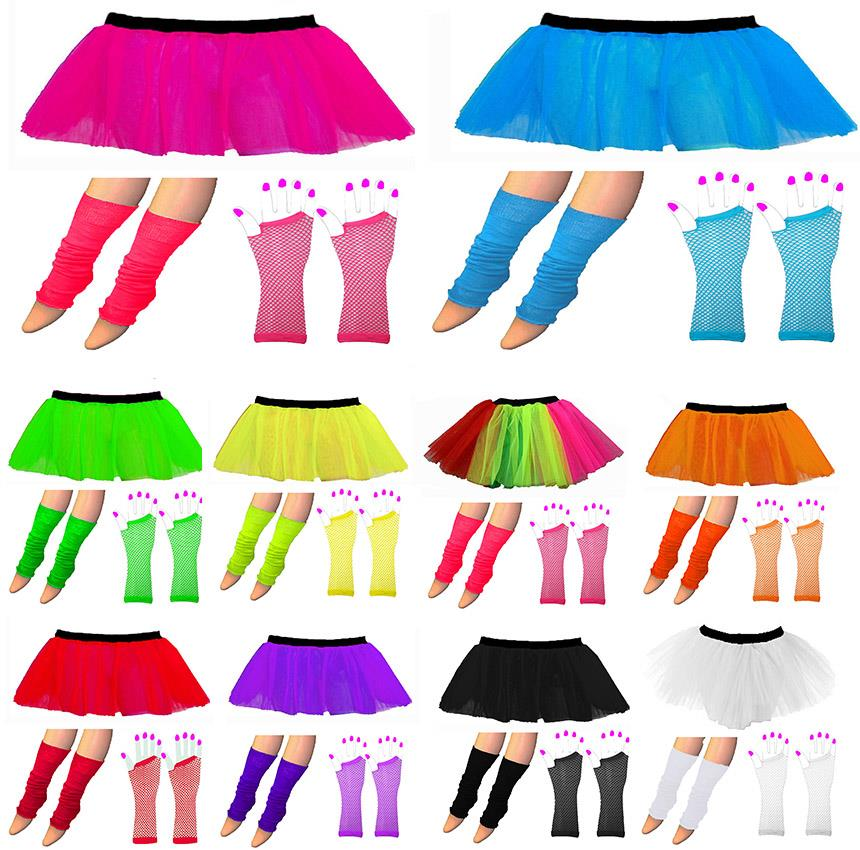 New Womens Neon Tutu Skirts Fancy Dress Hen Party Halloween Fishnet