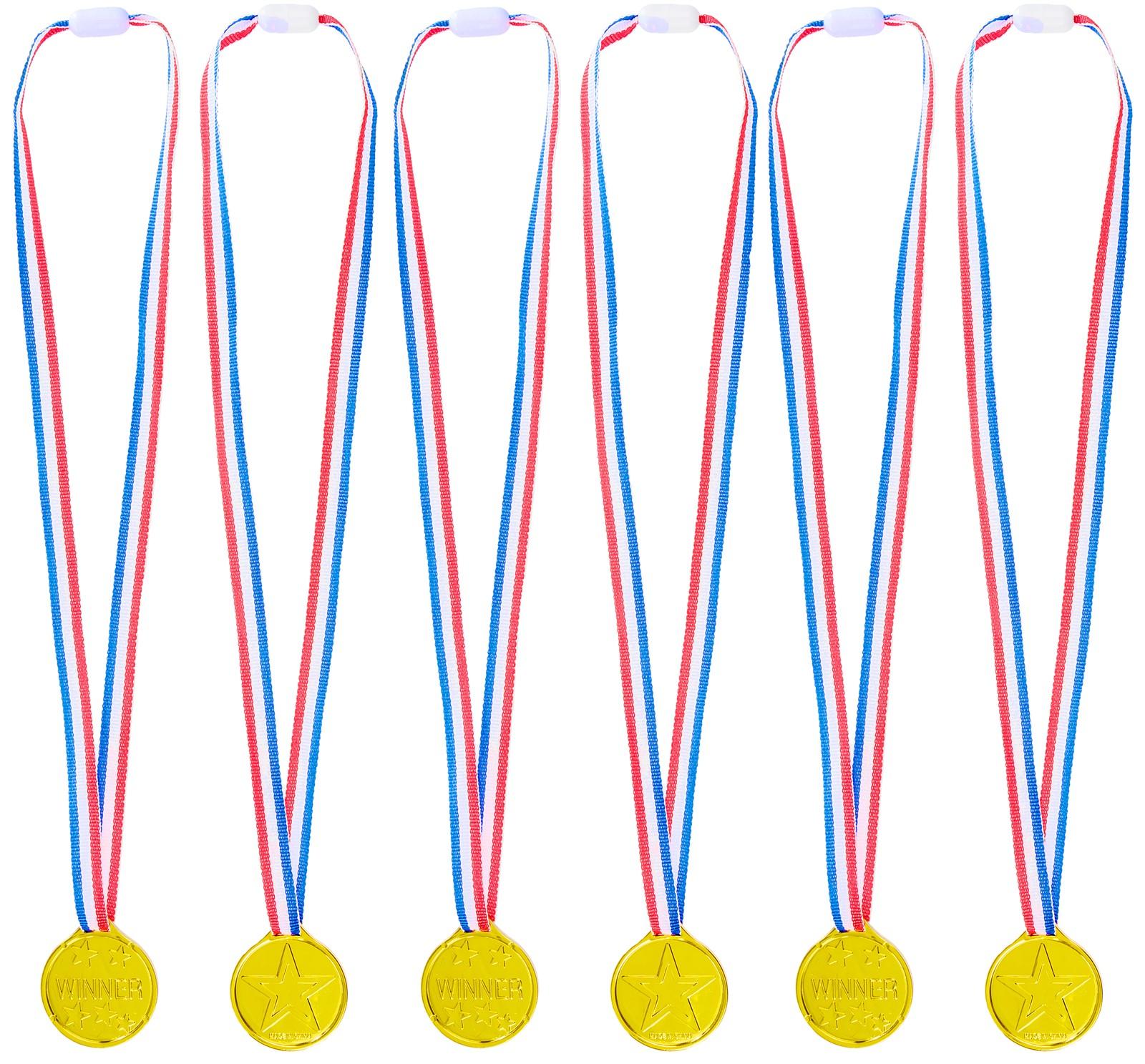 GOLD MEDAL WINNER Pack de 24 Plastique Médailles School Gaming prix fêtes