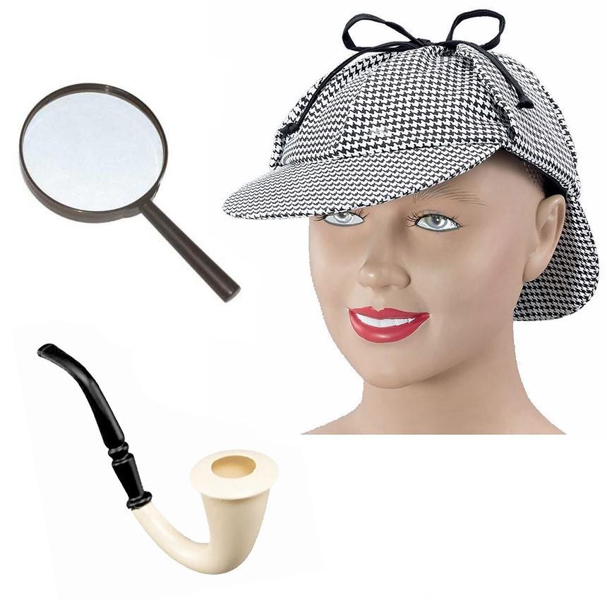 sherlock holmes ensemble d guisement chapeau loupe tube chapka police d tective ebay. Black Bedroom Furniture Sets. Home Design Ideas