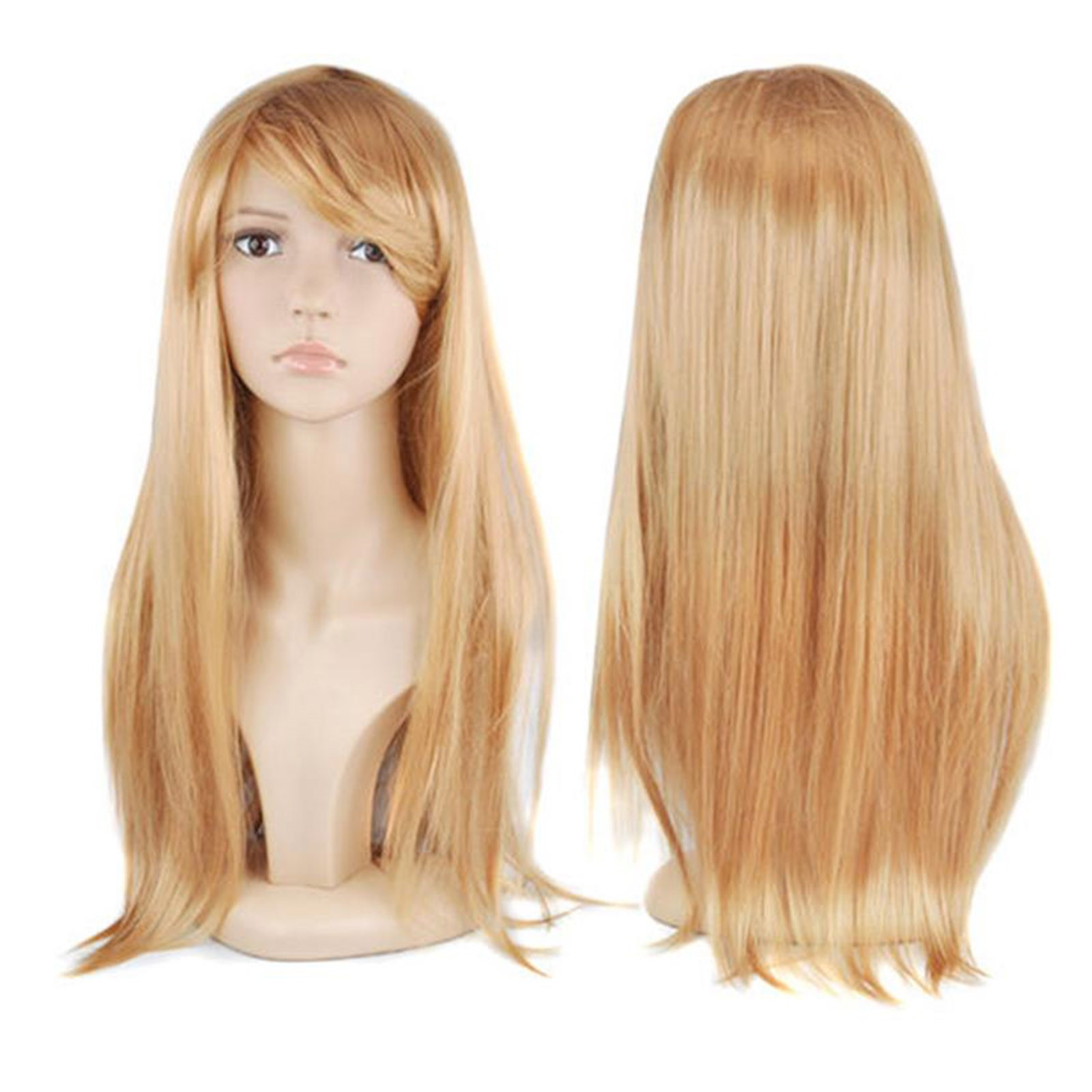 "WOMENS LADIES LONG 19"" STRAIGHT WIG FANCY DRESS COSPLAY ..."