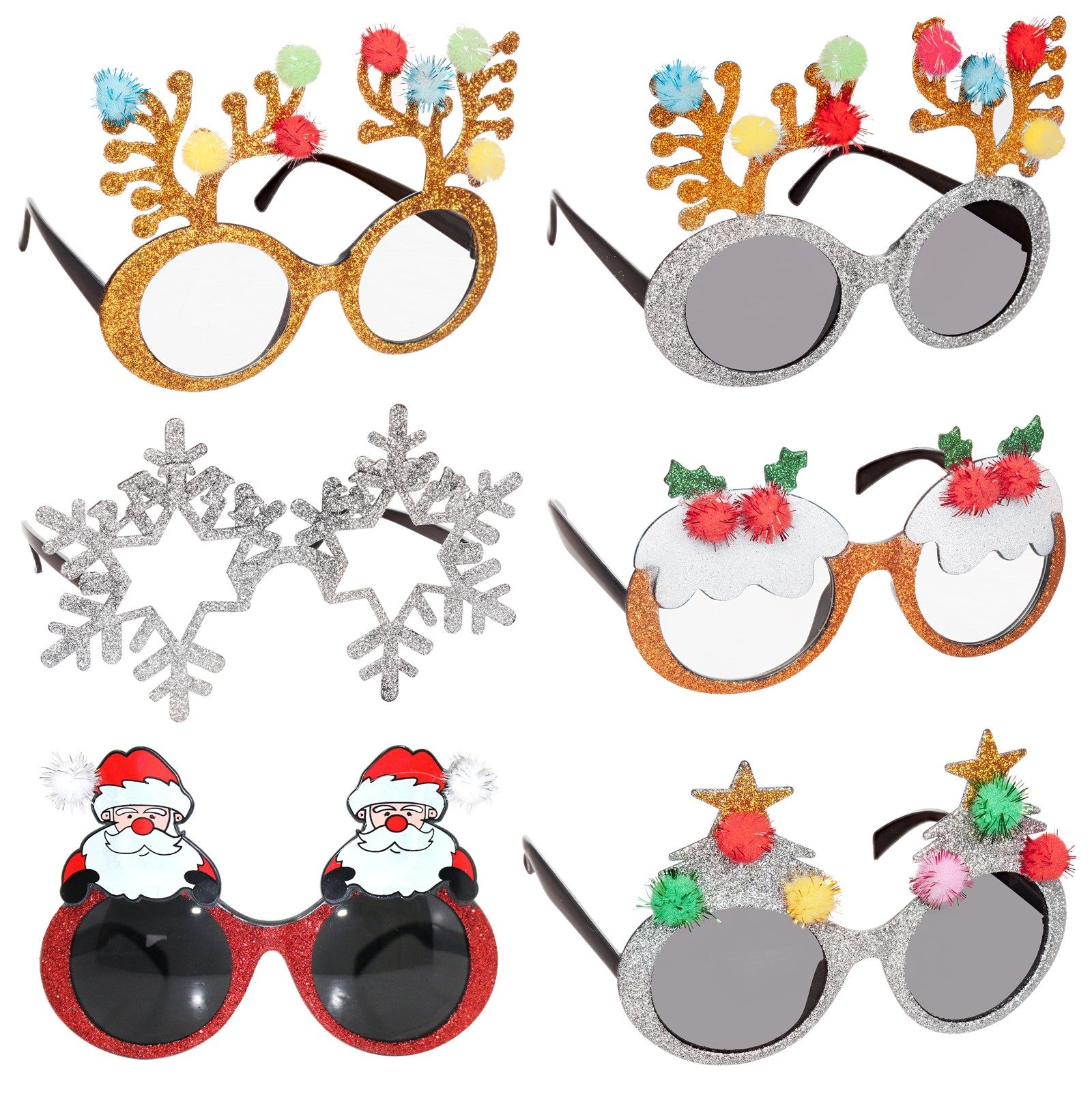 Christmas Novelty Glasses Party Santa Glasses Xmas Pudding