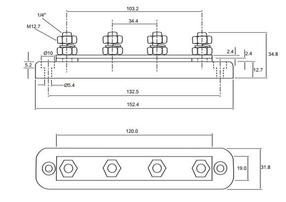 Details about Durite 4 Stud Tin Plated Copper Bus Bar with ABS Insulated  Base 150 Amp 0-005-56