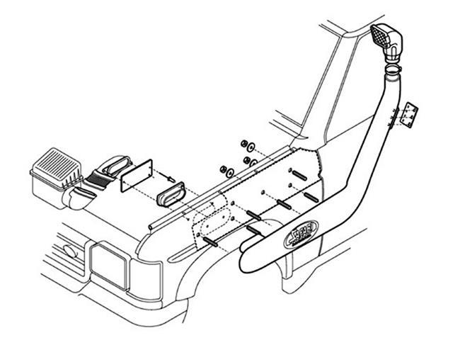 Land Rover Defender Td5 Tdci Safari Snorkel Raised Air Intake Kit