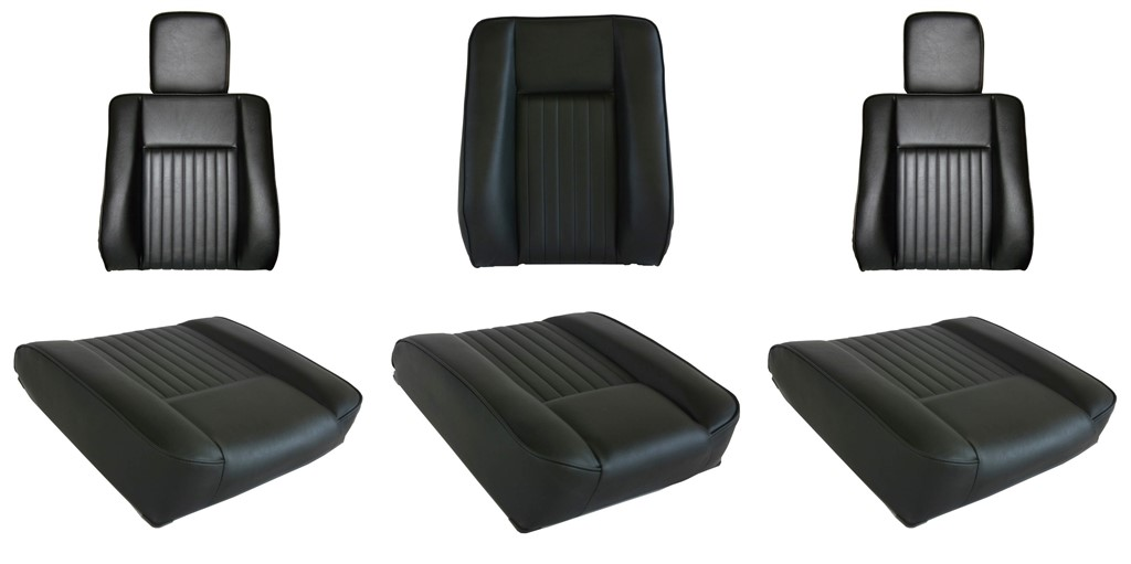 LAND ROVER DEFENDER SEAT COVERS 1983-2007 REAR SEATS SET2 BLACK