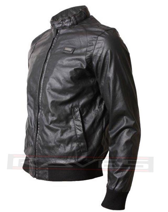 Men's Ecko Faux Leather Jacket Saboo Biker Style Leather Look Coat