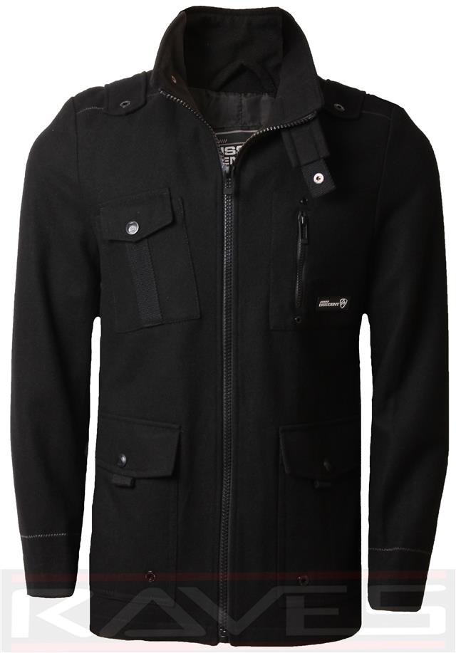 Men/'s Dissident Faux Leather Biker Aviator Jacket Coat Full Zip MAGUIRE 1J5057