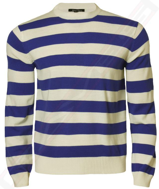 Mens Striped Jumper Crew Neck Casual Sweater Knitwear Top Blue Fire