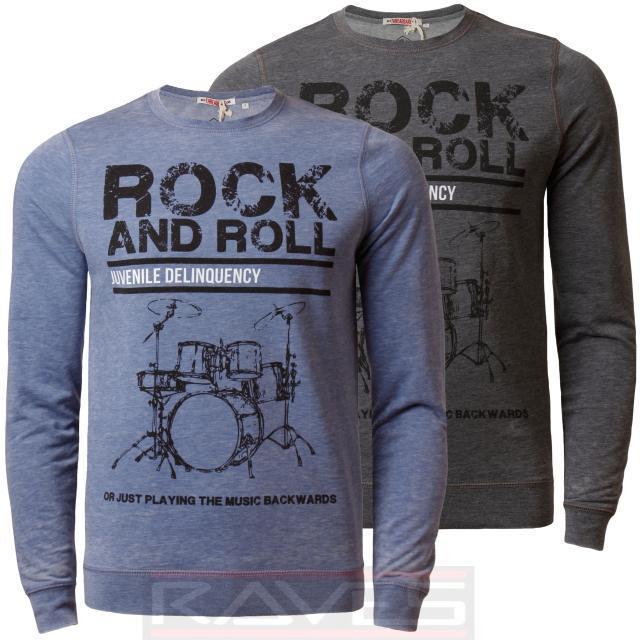 7aef03e8753456 Mens Jumper Sweatshirt Threadbare Rock & Roll Crew Neck Burn Out Effect Top