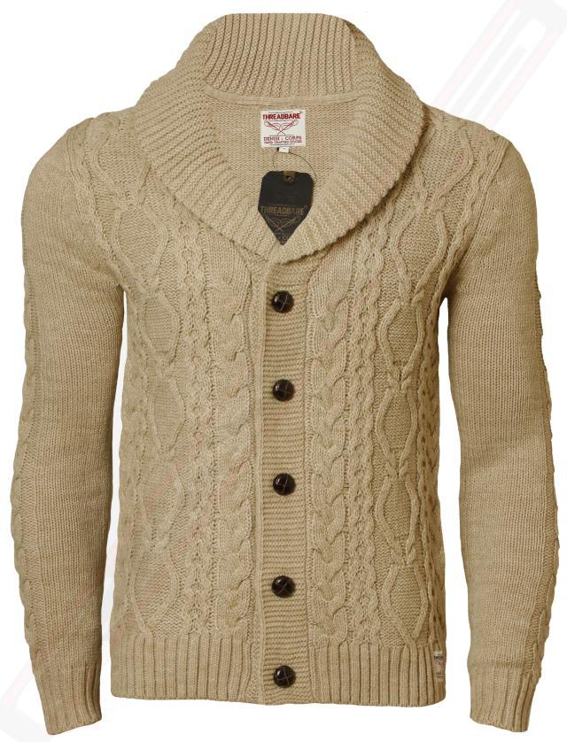 Mens Cardigan Chunky Cable Knit Threadbare IMS 042 Shawl Neck ...