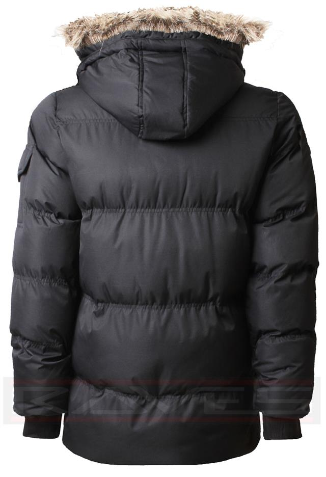 Gnao Mens Winter Padded Quilted Warm Zip-Up Thicken Hooded Bomber Puffer Jacket