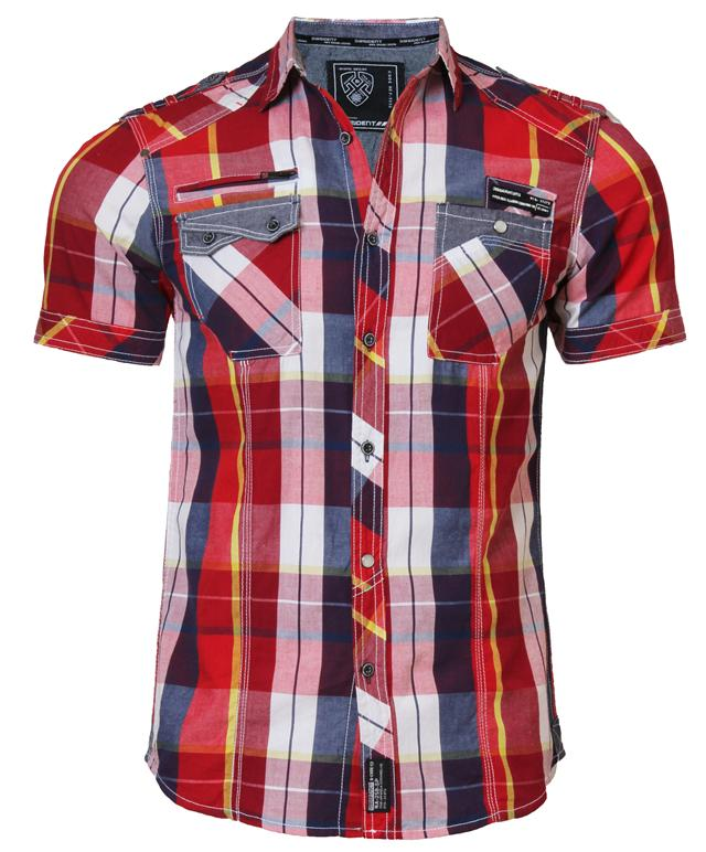 7b04bcc7d92 New mens DISSIDENT 1H-2774R casual short sleeve check shirt S