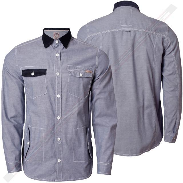 Mens Shirt Tokyo Laundry Full Sleeve Denim Chambray Cotton Cord Collared 1H 1249