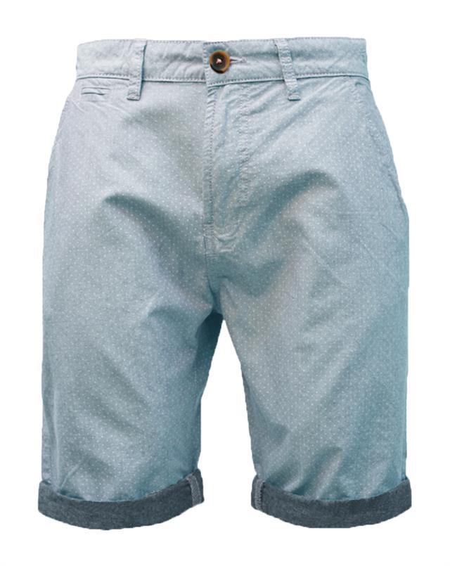 Mens Summer Threadbare Casual Cotton Oxford Chino Shorts Polka Dot Chambray
