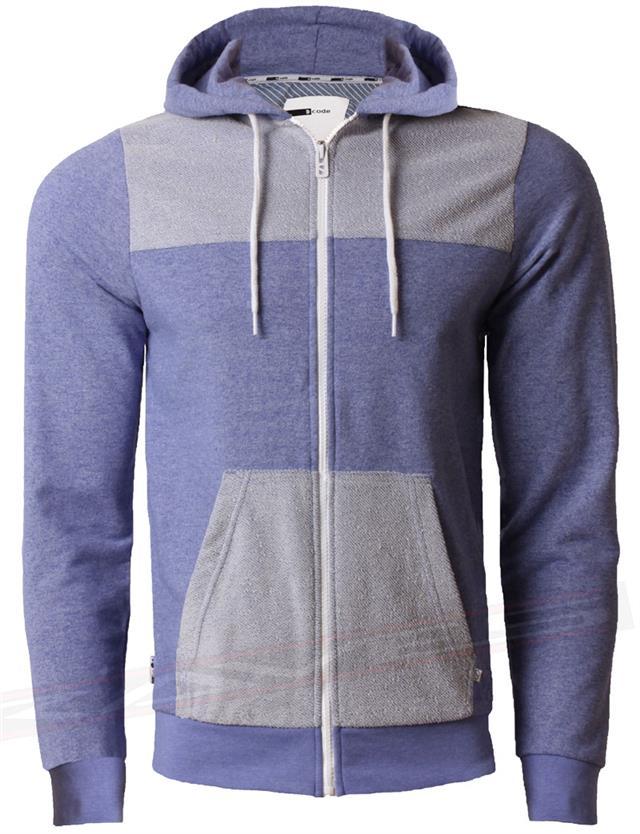 Mens Sweatshirt Top D Code Casual Jumper Hooded Full Zip Marl Effect 1E2481