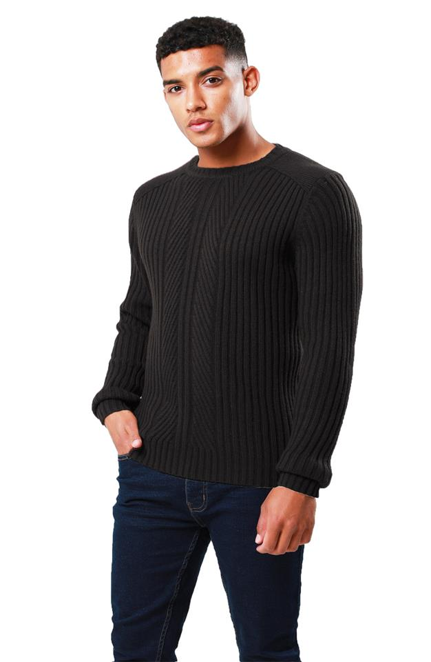 Threadbare Mens Saltbush Jumper Crew Neck Chunky Cable Knit Wool Blend Sweater