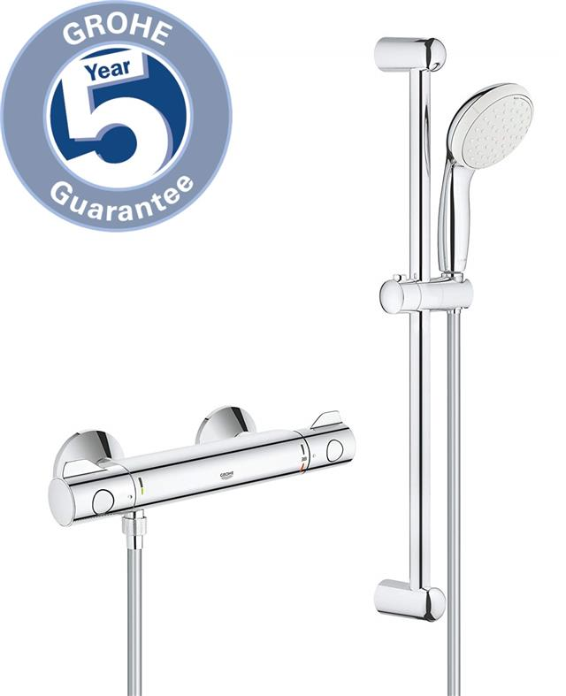 GROHE GROTHERM 800 THERMOSTATIC SHOWER SYSTEM  EXPOSED MIXER SET RAIN OVERHEAD