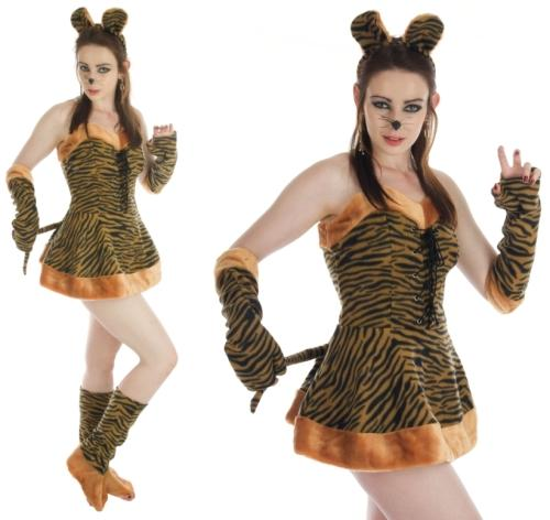 ladies sexy tiger fancy dress costume womens stripy tigress outfit headband ears - Tigress Halloween Costume