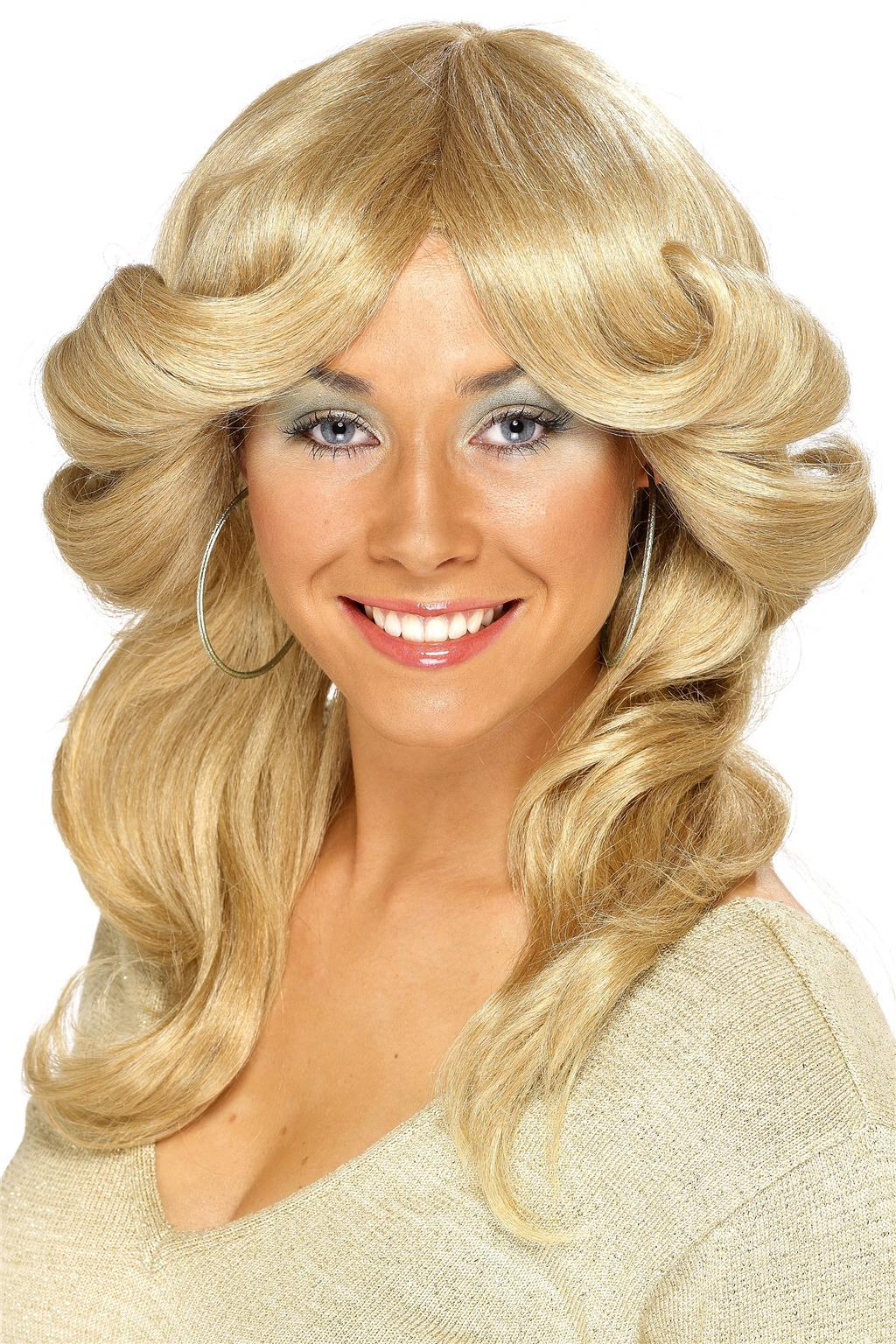 Disco Angel 1970s Farrah Fawcett Blonde Wavy Women Costume Wig