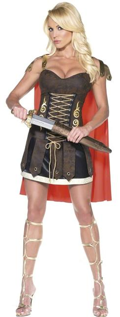 Ladies gladiator fancy dress costume xena warrior princess outfit ladies gladiator costume brown gladiator dress with red cape solutioingenieria Gallery