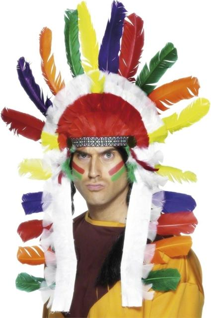 Red indian chief long headdress fancy dress costume western outfit