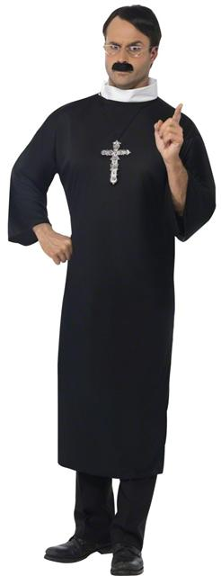 Mens Priest Costume Long Black Robe with White Collar  sc 1 st  eBay : priest robe costume  - Germanpascual.Com