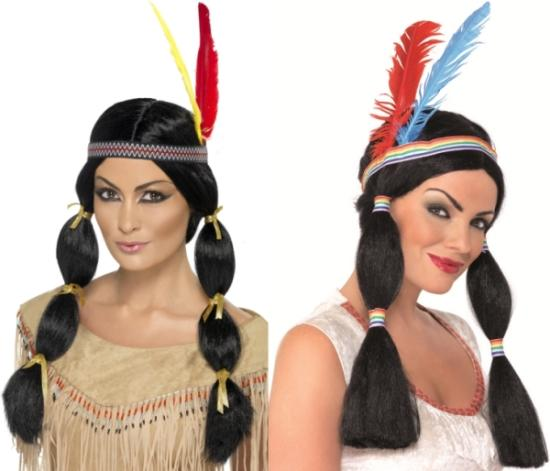 Native American Red Indian Squaw Pocahontas Wig Fancy Dress Hair Pigtails Plaits Ebay