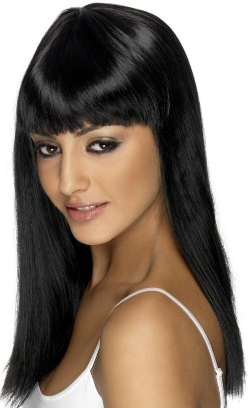 Ladies Long Straight Wig Shoulder Length Hair With Fringe Glam Fancy