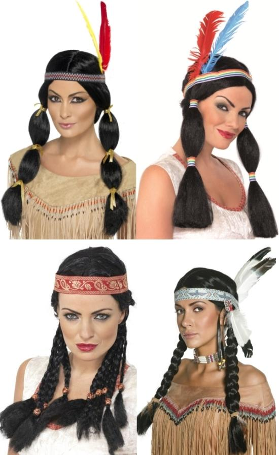 Native American Plaited Female Indian Wig with Red Feather Fancy Dress Accessory