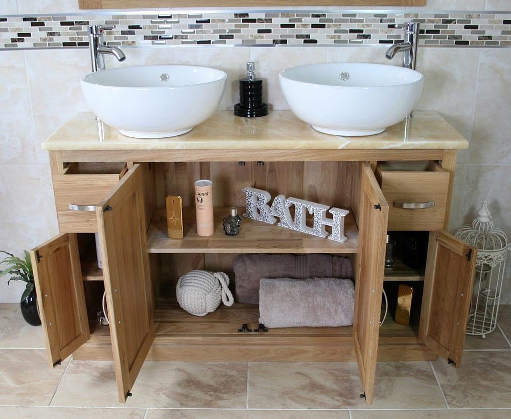 Double Oak Bathroom Vanity Unit With Solid Golden Onyx Worktop Ceramic 402 Ebay