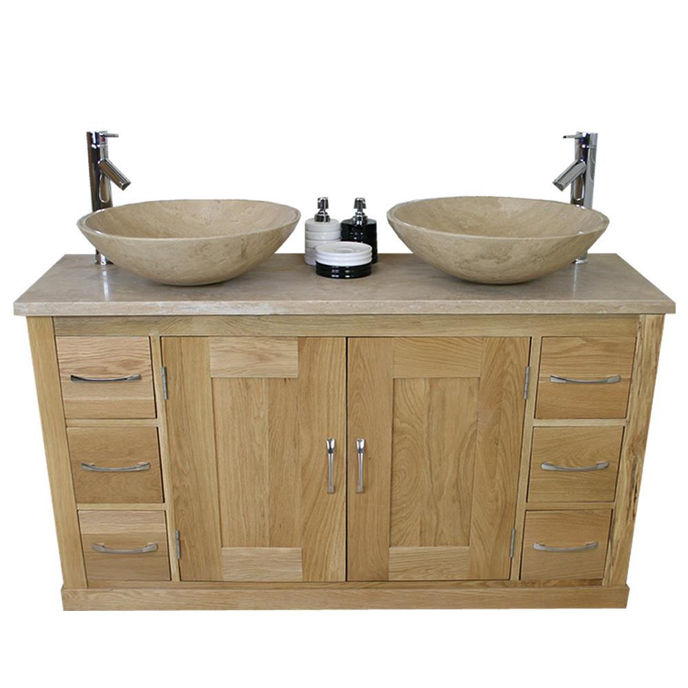 Travertine Sink Bowl: Bathroom Vanity Twin Set Cabinet Double Twin Sink Bowl