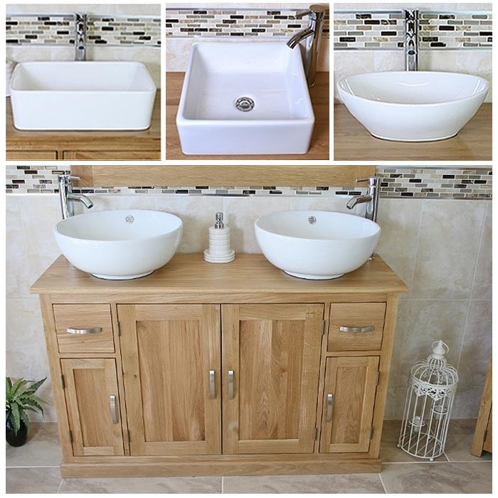 Terrific Details About Solid Oak Bathroom Vanity Unit Cabinet Twin Ceramic Bowl Basin Tap Plug 402 A Home Remodeling Inspirations Genioncuboardxyz
