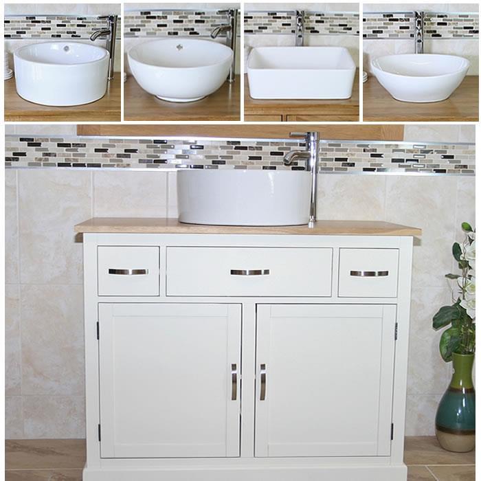 Bathroom Vanity Unit   Off White Cream Cabinet Wash Stand with Ceramic  Basin A. Bathroom Vanity Unit   Off White Cream Cabinet Wash Stand with