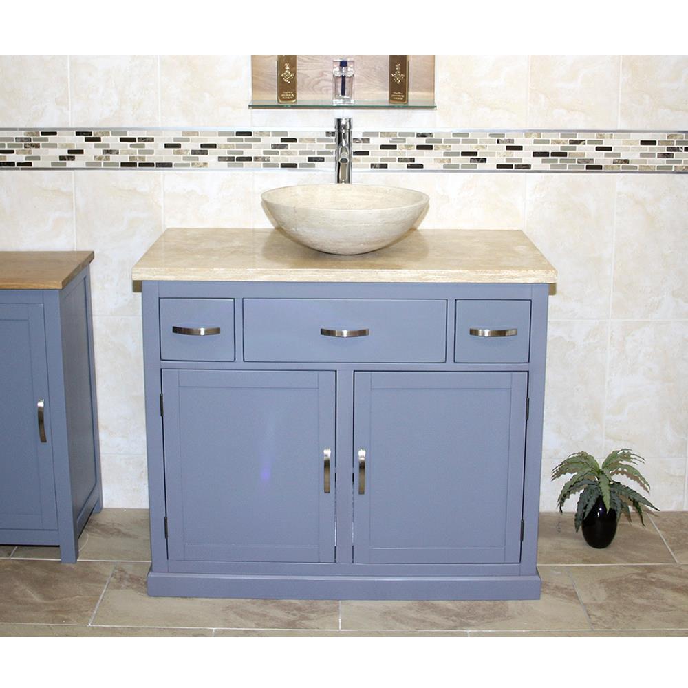 Détails sur Salle de bain VANITY Gris Peint Armoire wash stand travertin  Top & basin 1161 G- afficher le titre d\'origine