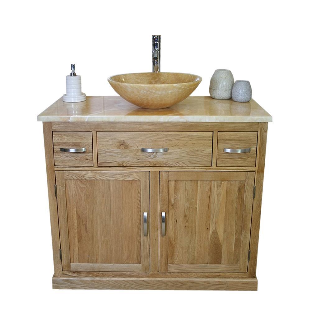 Bathroom Vanity Unit Oak Cabinet Wash Stand Golden Onyx Marble Stone Basin 1161 Ebay