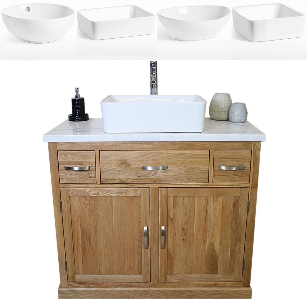 Bathroom Vanity Unit Oak Cabinet Wash Stand White Marble Ceramic Basin 1161 Ebay