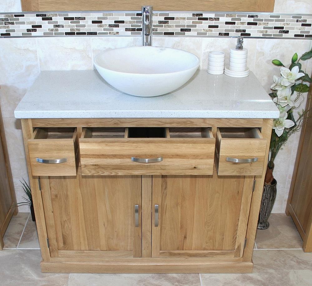 Bathroom Vanity Unit Oak Cabinet Wash Stand White Quartz